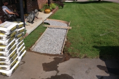 pour of sidewalk before